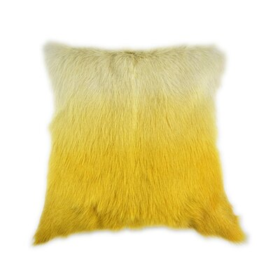 Sigourney Goat Fur Throw Pillow Color: Yellow