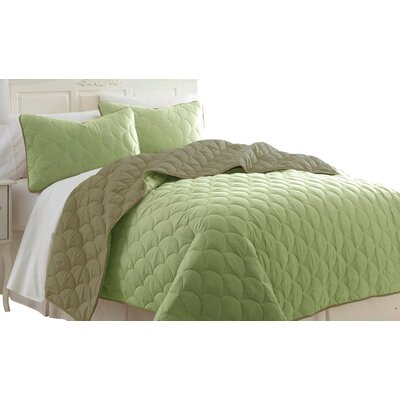 Gambrell 3 Piece Reversible Coverlet Set Size: King, Color: Sage / Taupe