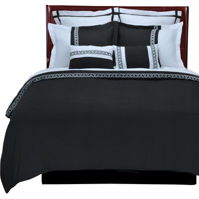 Bousquet 3 Piece Reversible Duvet Cover Set Size: Full/Queen, Color: Black/White