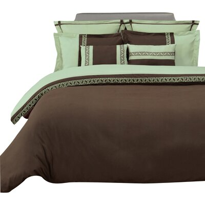 Pearson 3 Piece Reversible Duvet Cover Set Color: Chocolate/Sage, Size: King/California King