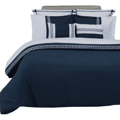 Bousquet 3 Piece Reversible Duvet Cover Set Color: Navy Blue/White, Size: King/California King