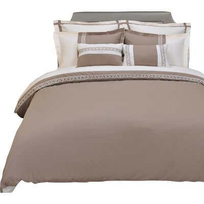 Bousquet 3 Piece Reversible Duvet Cover Set Size: Full/Queen, Color: Taupe/Ivory