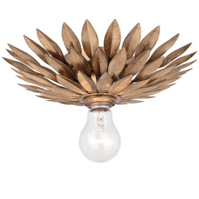 Rochelle 1-Light Semi Flush Mount Finish: Antique Gold