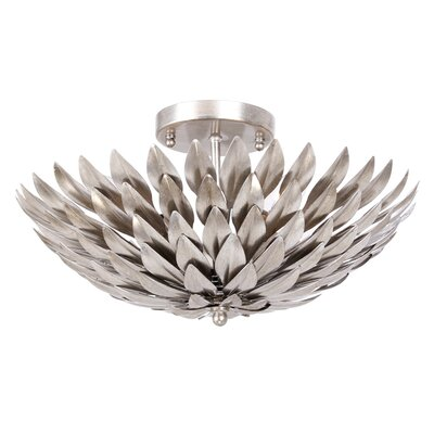 Rochelle 4-Light Wrought Iron Semi Flush Mount Finish: Antique Silver