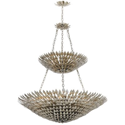 Rochelle 18-Light Shaded Chandelier Finish: Antique Silver