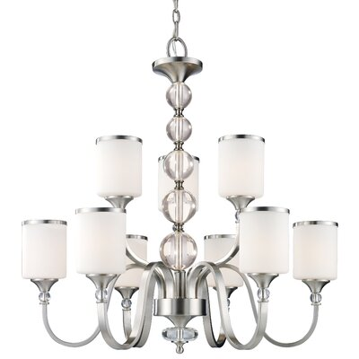 Carlitos 9-Light Shaded Chandelier Finish: Brushed Nickel