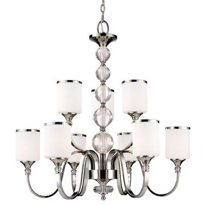 Carlitos 9-Light Shaded Chandelier Finish: Chrome