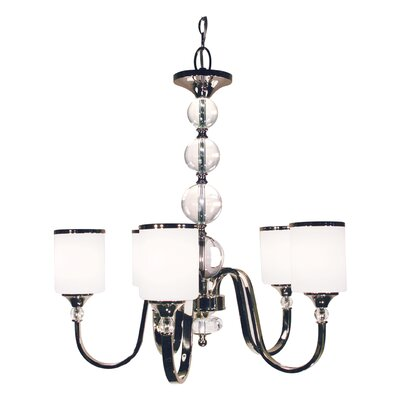 Carlitos 5-Light Shaded Chandelier Finish: Chrome