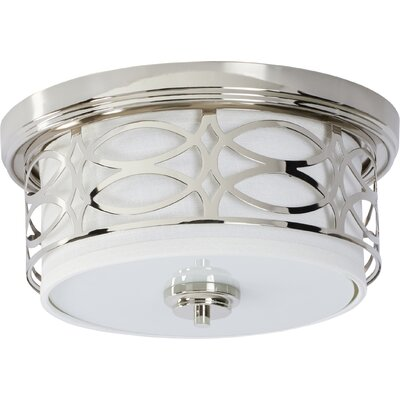 Helina 2-Light Flush Mount Finish / Shade Color: Polished Nickel / Slate Gray Fabric