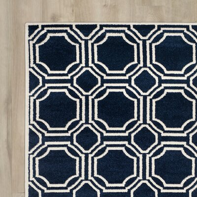 Maritza Navy/Ivory Indoor/Outdoor Area Rug Rug Size: 6 x 9