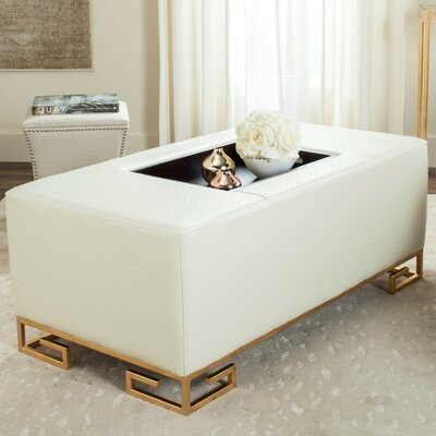 Bretagne Tray Cocktail Ottoman Upholstery: Cream