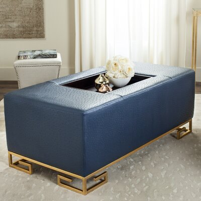 Bretagne Tray Cocktail Ottoman Upholstery: Navy