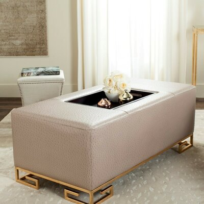 Bretagne Tray Storage Ottoman Upholstery: Taupe