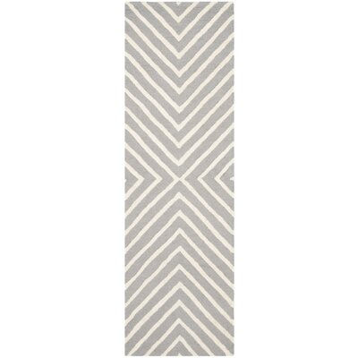 Ordingen Hand-Tufted Wool Silver/Ivory Area Rug Rug Size: Runner 26 x 18