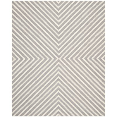 Ordingen Hand-Tufted Wool Silver/Ivory Area Rug Rug Size: Rectangle 6 x 9