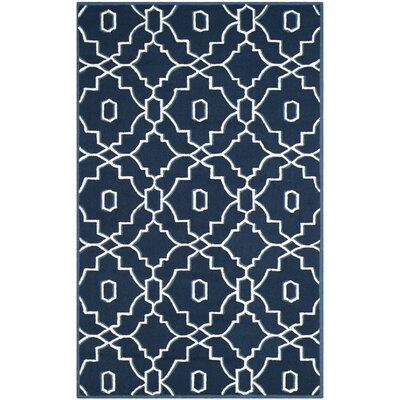 LaMoure Navy/Ivory Indoor/Outdoor Area Rug Rug Size: Rectangle 5 x 8