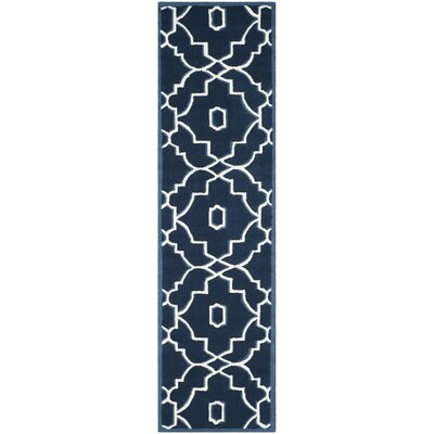 LaMoure Navy/Ivory Indoor/Outdoor Area Rug Rug Size: Runner 23 x 8