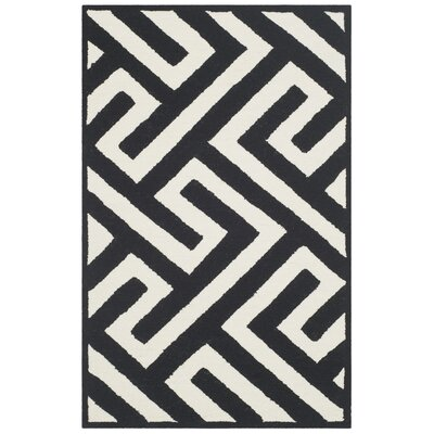 Enno Ivory/Black Indoor/Outdoor Area Rug Rug Size: 36 x 56