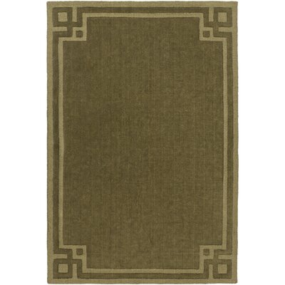 Lingle Hand-Loomed Olive Area Rug Rug Size: 8 x 11