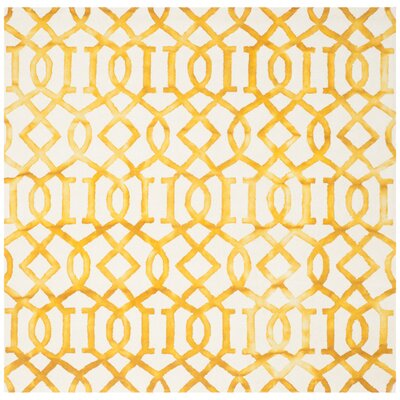 Duggan Ivory/Gold Area Rug Rug Size: Square 7