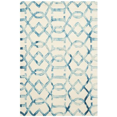 Braylee Ivory/Turquoise Area Rug Rug Size: Rectangle 4 x 6