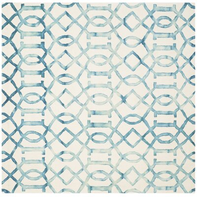 Braylee Ivory/Turquoise Area Rug Rug Size: Square 7