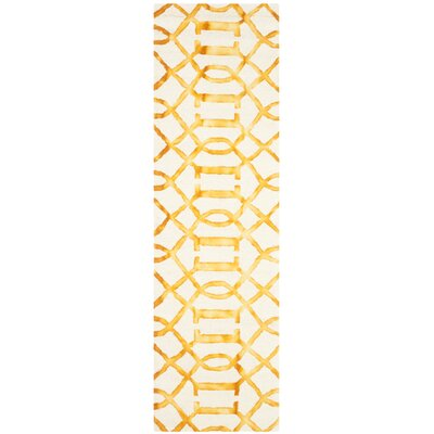 Sinclair Ivory/Gold Area Rug Rug Size: Runner 23 x 8