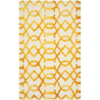 Sinclair Ivory/Gold Area Rug Rug Size: Runner 23 x 12