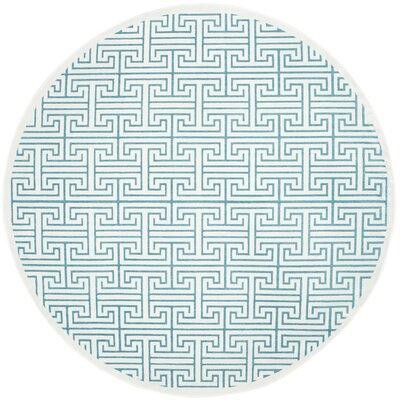 Maspeth Ivory/Turquoise Area Rug Rug Size: Round 67