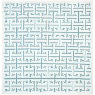 Maspeth Ivory/Turquoise Area Rug Rug Size: Square 67