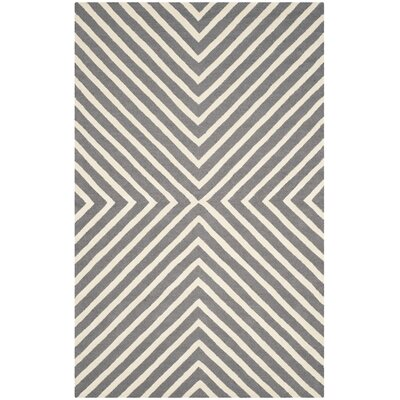 Oakley Dark Gray/Ivory Area Rug Rug Size: Rectangle 8 x 10