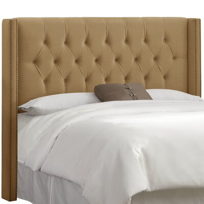 Janie Upholstered Wingback Headboard Upholstery: Premier Saddle, Size: King