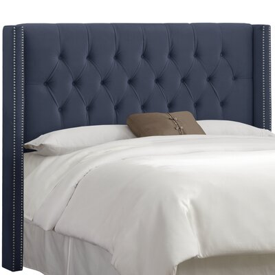 Alling Upholstered Wingback Headboard Upholstery: Premier Lazuli Blue, Size: Queen
