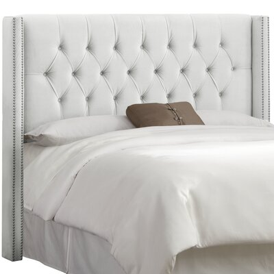 Drage Diamond Tufted Upholstered Wingback Headboard Upholstery: Velvet White, Size: King