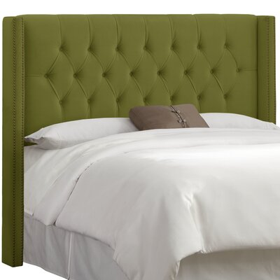 Drage Diamond Tufted Upholstered Wingback Headboard Size: King, Upholstery: Velvet Applegreen