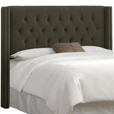 Drage Diamond Tufted Upholstered Wingback Headboard Size: Full, Upholstery: Velvet Pewter