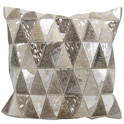 Stephen Natural Leather Hide Throw Pillow Color: Silver Gray