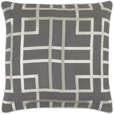 Patchoque Linen Throw Pillow Size: 22 H x 22 W x 4 D, Color: Charcoal/Beige