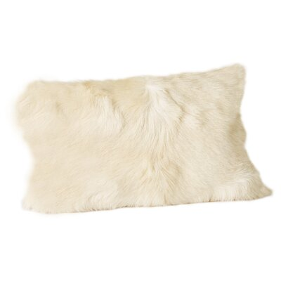 Holley Goat Faux Fur Bolster Pillow (Set of 2) Color: Natural