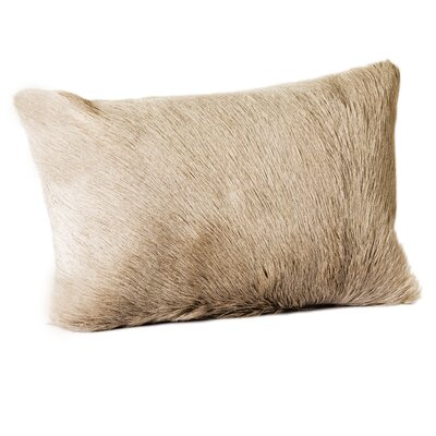 Holley Goat Faux Fur Bolster Pillow (Set of 2) Color: Light Gray