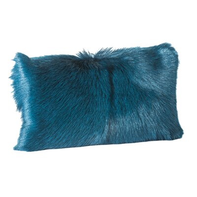 Holley Goat Faux Fur Bolster Pillow (Set of 2) Color: Blue