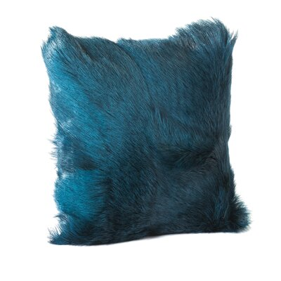 Atlantic Beach Goat Faux Fur Throw Pillow (Set of 2) Color: Blue