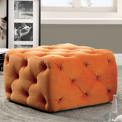 Genesee Deep Tufted Ottoman Upholstery: Orange