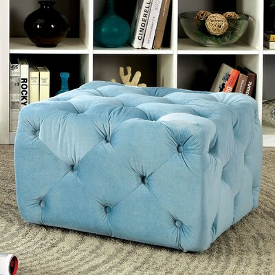 Genesee Deep Tufted Ottoman Upholstery: Blue