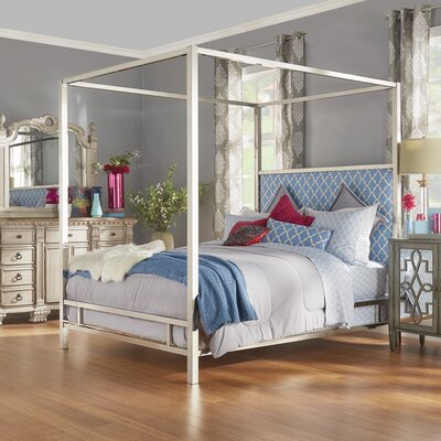 Chattel Upholstered Canopy Bed Size: Queen, Finish: Gold, Upholstery Color: Samba Red