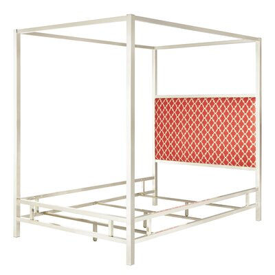Chattel Upholstered Canopy Bed Size: Queen, Frame Color: Chrome, Headboard Color: Samba Red