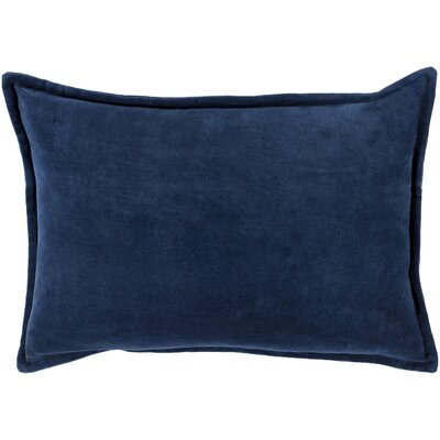 Cotton Lumbar Pillow Color: Navy, Filler: Down