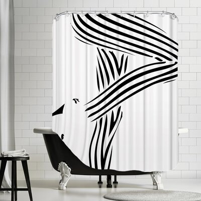 Lage Woman 1 Shower Curtain Options: Black