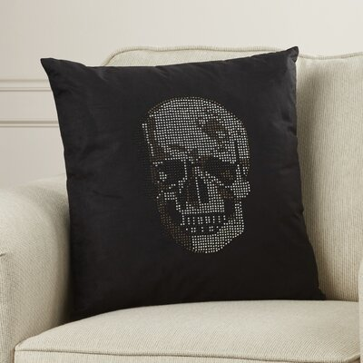 Bridgnorth Rhinestone Skull Suedette Throw Pillow Color: Black