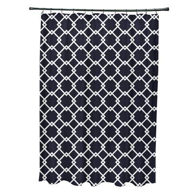 Pandro Geometric Shower Curtain Color: Navy Blue